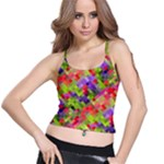 Colorful Mosaic Spaghetti Strap Bra Top