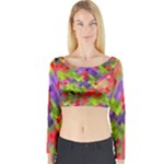 Colorful Mosaic Long Sleeve Crop Top (Tight Fit)