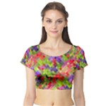 Colorful Mosaic Short Sleeve Crop Top (Tight Fit)