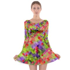 Colorful Mosaic Long Sleeve Skater Dress by DanaeStudio