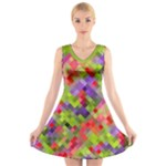 Colorful Mosaic V-Neck Sleeveless Dress
