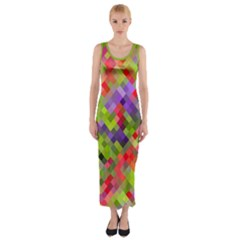 Colorful Mosaic Fitted Maxi Dress by DanaeStudio