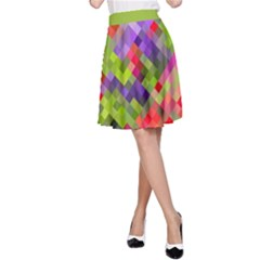 Colorful Mosaic A Line Skirt by DanaeStudio