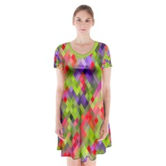Colorful Mosaic Short Sleeve V Neck Flare Dress by DanaeStudio