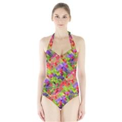 Colorful Mosaic Halter Swimsuit by DanaeStudio