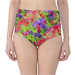 Colorful Mosaic High-Waist Bikini Bottoms