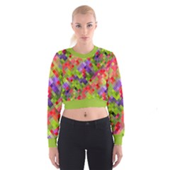 Colorful Mosaic Women s Cropped Sweatshirt by DanaeStudio