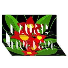 Red Flowers Laugh Live Love 3d Greeting Card (8x4) by Valentinaart