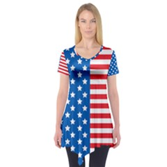 Usa Flag Short Sleeve Tunic  by stockimagefolio