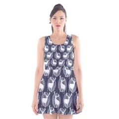 Geometric Deer Retro Pattern Scoop Neck Skater Dress by DanaeStudio