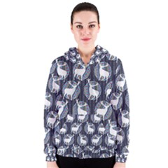 Geometric Deer Retro Pattern Women s Zipper Hoodie by DanaeStudio