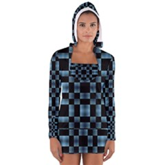 Black and Blue Checkboard Print Women s Long Sleeve Hooded T-shirt by dflcprintsclothing