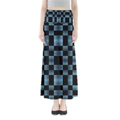 Black And Blue Checkboard Print Maxi Skirts