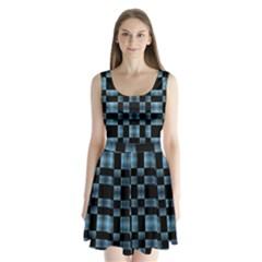 Black And Blue Checkboard Print Split Back Mini Dress