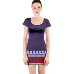 Purple Retro Geometric Pattern Short Sleeve Bodycon Dress by DanaeStudio
