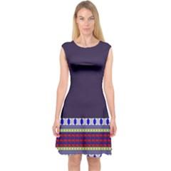 Purple Retro Geometric Pattern Capsleeve Midi Dress by DanaeStudio