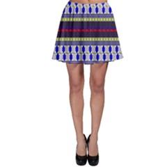 Colorful Retro Geometric Pattern Skater Skirt by DanaeStudio