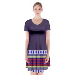 Purple Retro Geometric Pattern Short Sleeve V Neck Flare Dress by DanaeStudio