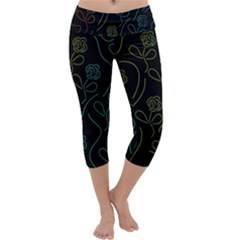 Floral pattern Capri Yoga Leggings by Valentinaart