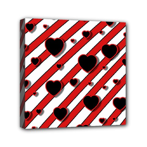 Black And Red Harts Mini Canvas 6  X 6  by Valentinaart