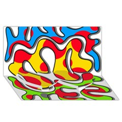 Colorful Graffiti Twin Heart Bottom 3d Greeting Card (8x4) by Valentinaart