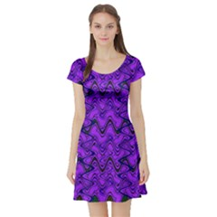 Purple Wavey Squiggles Short Sleeve Skater Dress by BrightVibesDesign