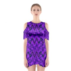 Purple Wavey Squiggles Cutout Shoulder Dress by BrightVibesDesign