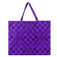 Purple Wavey Squiggles Zipper Large Tote Bag by BrightVibesDesign