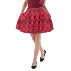 Red Wavey Squiggles A Line Pocket Skirt by BrightVibesDesign