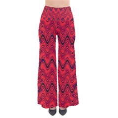 Red Wavey Squiggles Pants by BrightVibesDesign