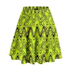 Yellow Wavey Squiggles High Waist Skirt