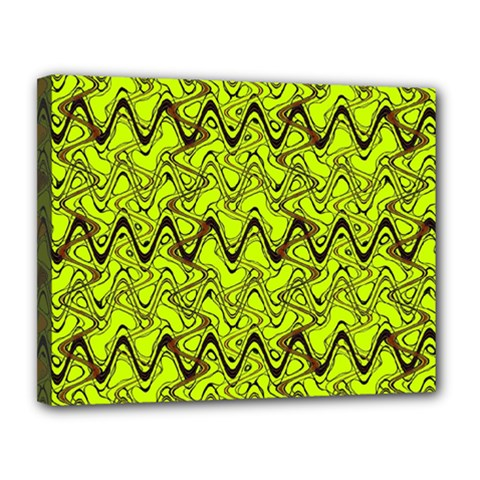 Yellow Wavey Squiggles Canvas 14  X 11  by BrightVibesDesign
