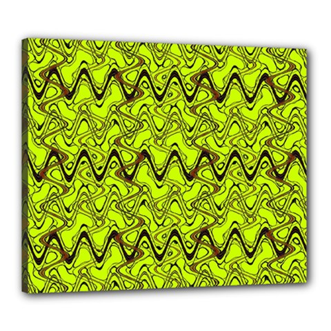 Yellow Wavey Squiggles Canvas 24  x 20  by BrightVibesDesign