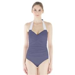 Smoky Blue Colour Halter Swimsuit by artpics