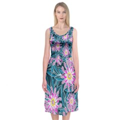 Whimsical Garden Midi Sleeveless Dress by DanaeStudio