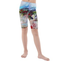 red abstract landscape Kid s Mid Length Swim Shorts by artistpixi