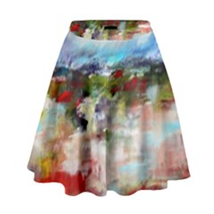 red abstract landscape High Waist Skirt by artistpixi