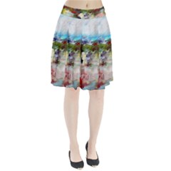 Red Abstract Landscape Pleated Skirt by artistpixi