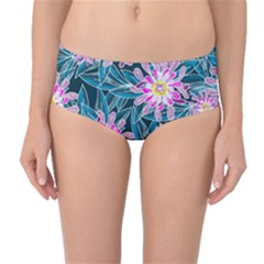 Whimsical Garden Mid Waist Bikini Bottoms by DanaeStudio