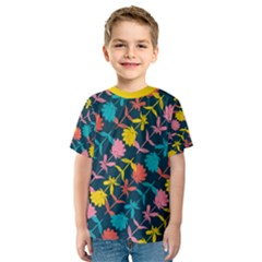 Colorful Floral Pattern Kid s Sport Mesh Tee by DanaeStudio