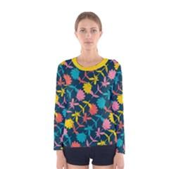 Colorful Floral Pattern Women s Long Sleeve Tee by DanaeStudio