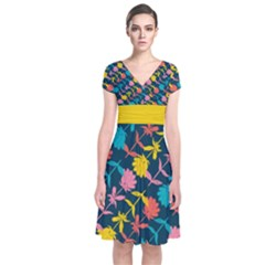 Colorful Floral Pattern Short Sleeve Front Wrap Dress by DanaeStudio