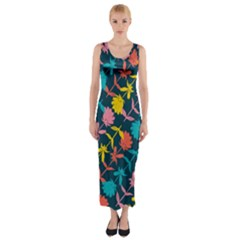 Colorful Floral Pattern Fitted Maxi Dress by DanaeStudio