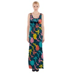 Colorful Floral Pattern Maxi Thigh Split Dress by DanaeStudio