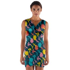 Colorful Floral Pattern Wrap Front Bodycon Dress by DanaeStudio
