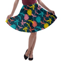 Colorful Floral Pattern A Line Skater Skirt by DanaeStudio