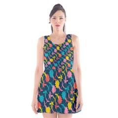 Colorful Floral Pattern Scoop Neck Skater Dress by DanaeStudio