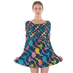 Colorful Floral Pattern Long Sleeve Velvet Skater Dress by DanaeStudio