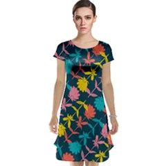 Colorful Floral Pattern Cap Sleeve Nightdress by DanaeStudio