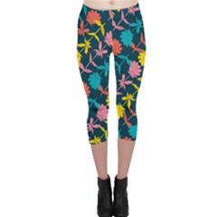 Colorful Floral Pattern Capri Leggings  by DanaeStudio